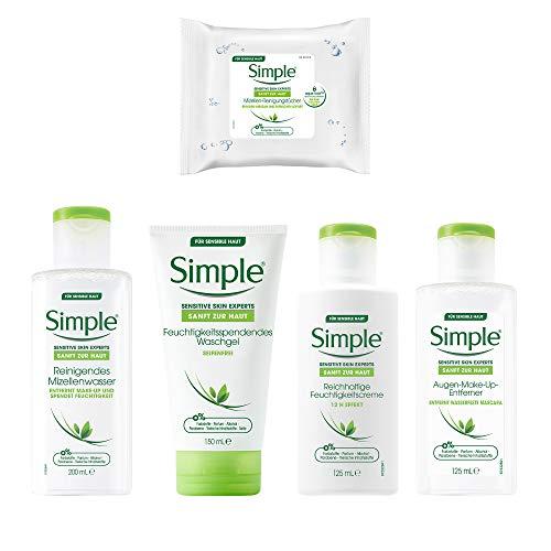 Simple Gesichtspflege-Set als Tagespflege und Nachtpflege mit Reinigungstüchern, Augen-Make-Up-Entferner, Waschgel, Feuchtigkeitscreme und Mizellenwasser (5 Produkte)