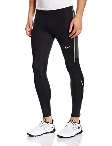 Nike Df Essential Collant da Corsa - Multicolore (Nero/Antracite/Volt) - L