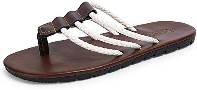 SHANGXIAN Zapatillas Flip Flops Verano Lona Exterior Talón Trenzada Correa Plana Negro Marrón Arriba Zapatos Hombres... -