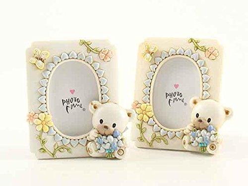 Portafoto bomboniera orsetto in resina celeste cm 6x8 battesimo nascita pz.01