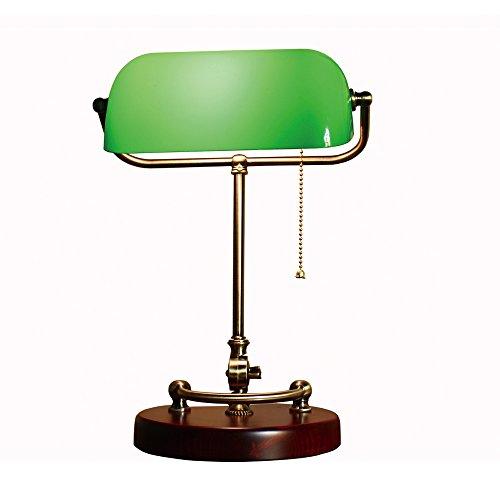 XIANGYU Lámpara de escritorio de los banqueros de bronce antiguos tradicionales sombra de cristal verde lámpara de mesa para la lectura del estudio de la oficina del dormitorio de la sala de estar, dos estilos a elegir de ( Color : Verde )