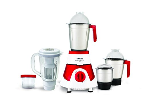 Usha Imprezza Plus Mixer Grinder (MG-3775) 750-Watt 5 Jars with Full Copper Motor (Red/White)