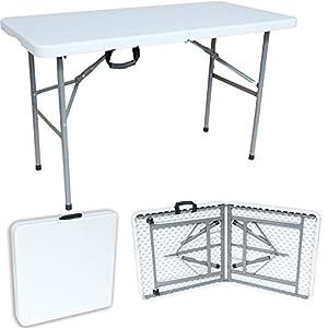 Sotech Klapptisch für Balkon, Gartentisch rechteckig mit Tragegriff, Campingtisch klappbar, Partytisch 122 x 61 x 74 cm, für Camping BBQ Party Buffet Hochzeit, weiß