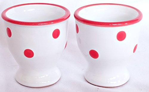 Céramique Coquetier Blanc avec pois rouges peints Lot de 2