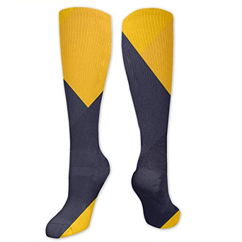 mchmcgm Navy Blue and Yellow Shapes Polyester Cotton Over Knee Leg High Socken Outdoor Unisex Thigh Strümpfe Cosplay Boot Long Tube Socken for Sports Gym Yoga Hiking Cycling Running Nurses