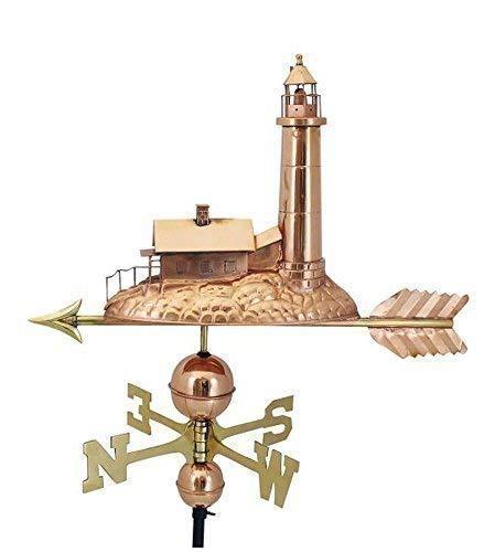 Leuchtturm, Große Wetterfahne aus poliertem Kupfer und Messing 70 cm