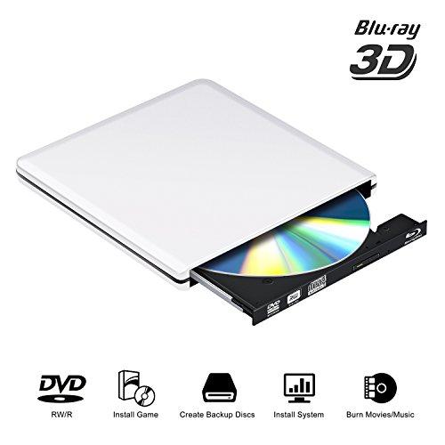 Blu-ray DVD Laufwerk 3D USB 3.0 Externes Brenner Tragbarer DVD CD Optische Lesegeräte für PC Windows Vista/XP/7/8/10 Mac OS