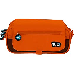 Grafoplás 37543252. Estuche Escolar Tres Compartimentos con Solapa. Naranja. 23x10x10cm. Bits & Bobs