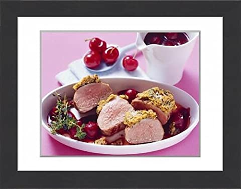 Framed Print of Pork fillet in herb crust with cherry and port wine sauce