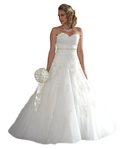 NEU Brautkleid Schleppe Hochzeitskleid Gr. 34 - 48 Spitze Braut Kleid Hochzeit (44, Weiß)