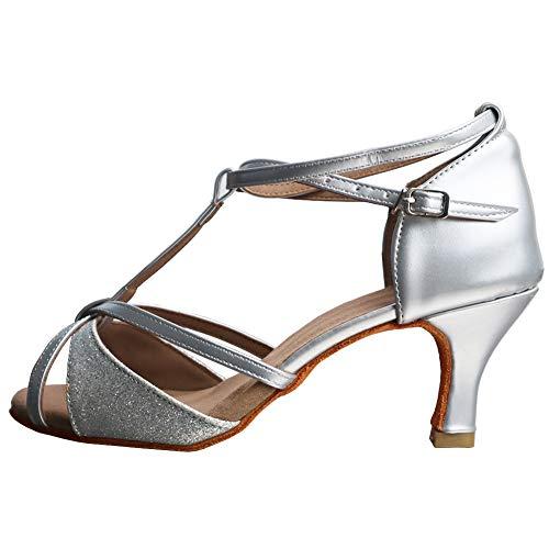 TRIWORIAE - Donna Scarpe da Ballo Latino/Sala da Ballo/Standard Tacco 5cm/7cm Argento (Tacco-7cm) 39 EU