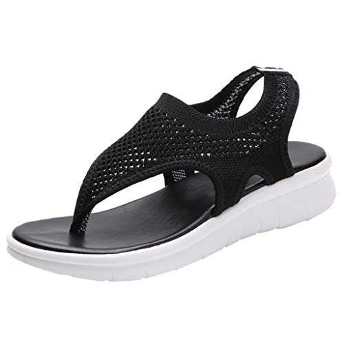 BASACA Sandalen Damen Frauen Mädchen Atmungsaktiv Komfort Aushöhlen Lässige Sommer Schuhe Frau Keil Mode 2019 (41 EU, V-Schwarz) -