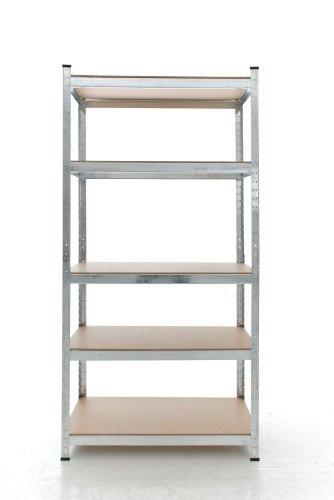 CLP Schwerlastregal, Metall, verzinkt, Tragkraft 875 kg, 5 Böden, Lagerregal Farbe + Höhe wählbar silber, 180 x 90 x 40 cm - 3