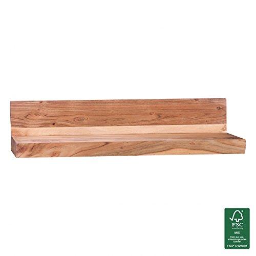WOHNLING Wandregal Massiv-Holz Akazie Holzregal 80 cm breit Landhaus-Stil Hönge-Regal Echt-Holz Wand-Board Natur-Produkt Wandkonsole dunkel-braun Brett unbehandelt Regale zum Aufhöngen Unikat Ablage