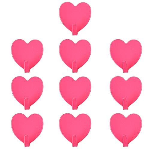 Latex-freie, Nicht-kleber (10 Stücke Wand Edelstahl Herzform Selbstklebende Haken Schlüssel Handtuch Tuch Hut Lagerung Kleiderbügel Bad)