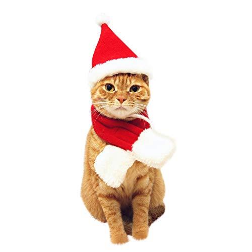 Fenverk Süß Weihnachtsmann Hut & Schal Weihnachten Rot KostüM Passen Ankleiden Zum Haustier Hund Katzen Mode ZubehöRteil Katze Urlaub Klein Tiere Kleider Einstellen(Mütze und ()
