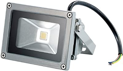 PEARL Wetterfester LED-Fluter Metallgrau, 10W, IP65, warmweiß 3000K von PEARL bei Lampenhans.de