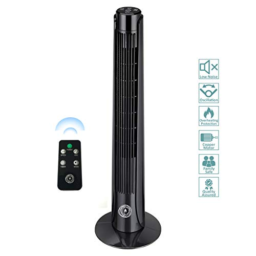 "41JoWztOyGL. SS500  - Ecolighters 36"" Tower Fan With Remote Control Wind Curve Oscillation, Portable Fan, Power Full 3-speed 3-Wind Mode: Normal/Sleep/Nature Fans, 7,5 Hours Timer, Strong 50 W Motor Copper"
