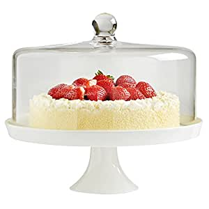 White Ceramic Cake Stand With Glass Dome