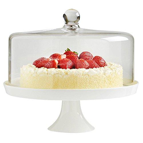 VonShef Weiß Keramik Kuchenplatte mit Glasglocke Deckel 30 cm