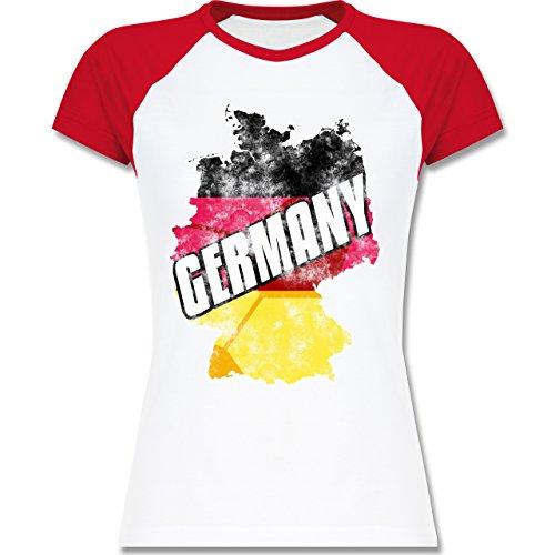 EM 2016 - Frankreich - Germany Umriss Vintage - zweifarbiges Baseballshirt / Raglan T-Shirt für Damen Weiß/Rot