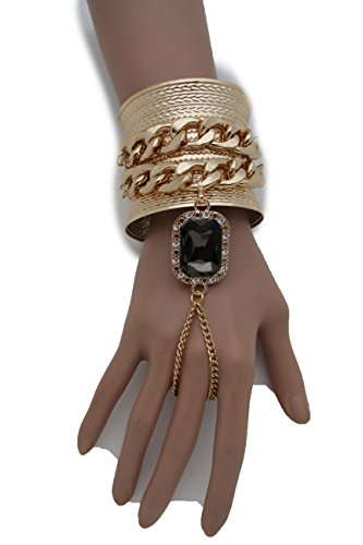 tfj-women-fashion-jewelry-hand-chain-wrist-cuff-bracelet-slave-ring-black-bead-metal-gold