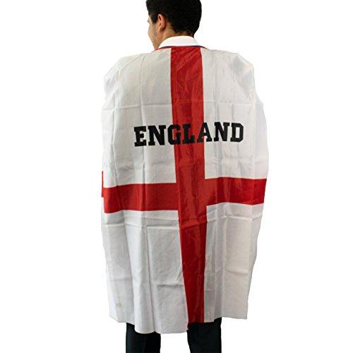 Themen England Party Kostüm - Trixes England St George Cape Einheitsgröße für Erwachsene mit Klettverschluß ideal für Fußball und andere Sportveranstaltungen