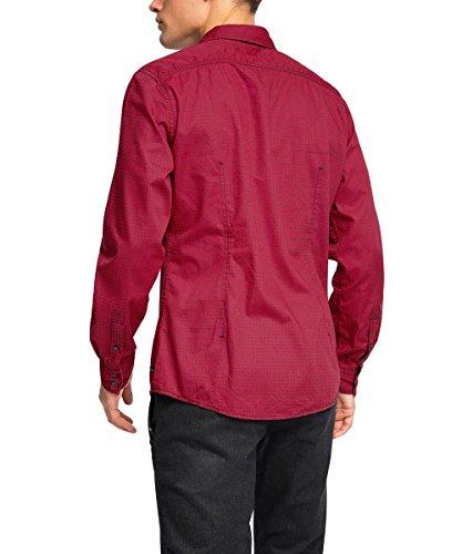 edc by ESPRIT gemustert - Chemise Casual - coupe cintrée - Col Chemise Classique - Manches Longues - Homme Rouge - Rouge