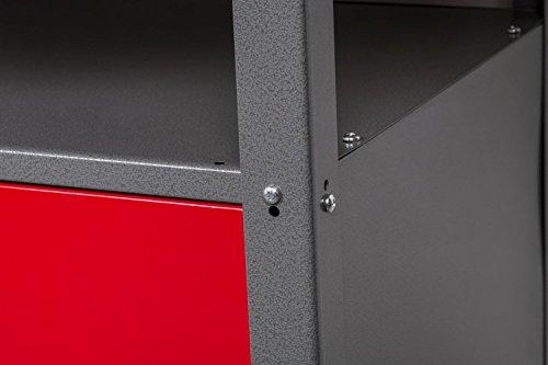 Werkbank aus Metall mit 30 mm Sperrholzplatte, robusten Oberflächen, verschließbaren Türen und Schublade, Maße B 1,20 x H 0,85 X T 0,60 m - 4