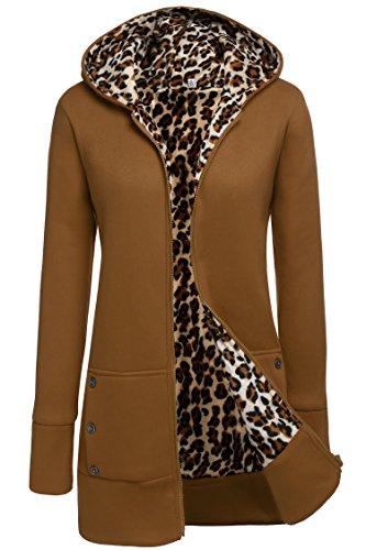 CRAVOG Winter Mantel Damen Haube Parka Mantel lange Jacke