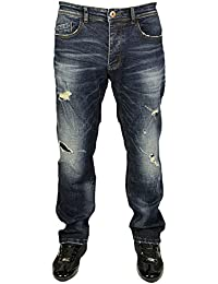 MENS ETO LATEST TAPERED FIT RIPPED JEANS IN DARK WASH COLOUR ALL SIZE RRP £49.99