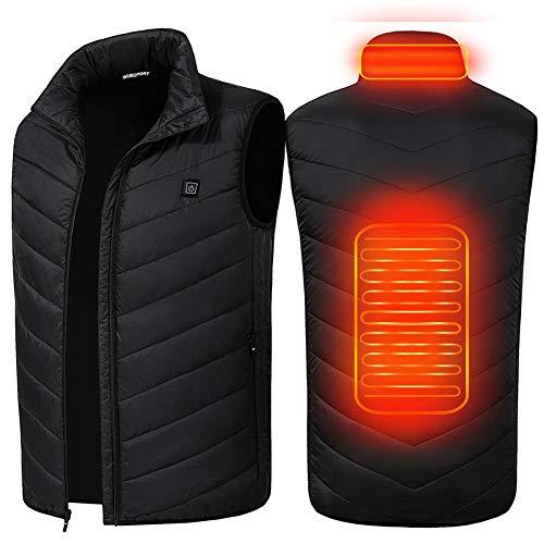 SUPTEMPO Beheizte Weste, Elektrische Beheizte Jacke USB Lade Heizweste für Herren Damen, Warme Heat Jacke für Outdoor-Aktivitäten Wandern Jagd Motorrad Camping (Schwarz, XL)