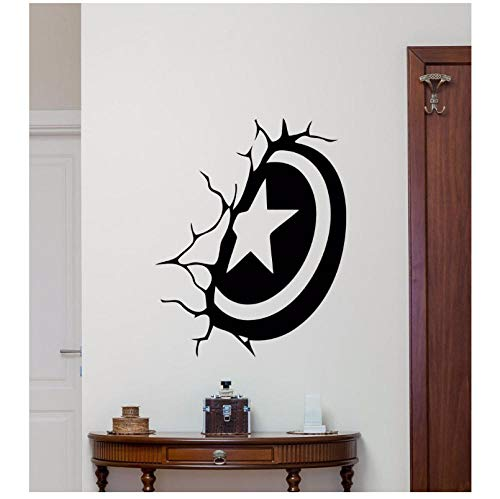 Capitán América Escudo Etiqueta de la pared Estilo de dibujos animados Decoración de la habitación de los niños Vinilo Arte Extraíble Cartel Mural Calcomanías Superher 42X53 CM