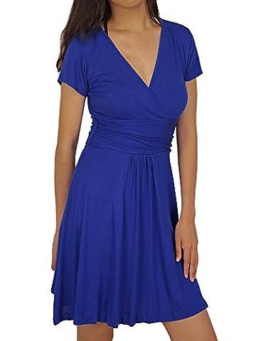 HENCY Damen Elegant Sommerkleid Knielang Partykleid Cocktailkleid Kurzarm V-Ausschnitt Blau