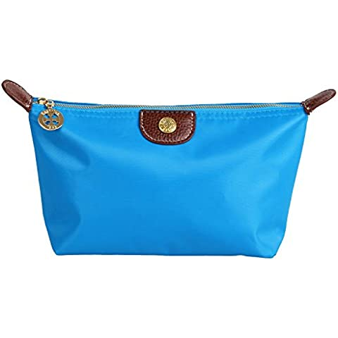 Neceseres, el mejor caso del arroz icónica de marco en forma de bolsa de cosméticos de maquillaje grandes viajes del organizador del bolso accesorio, azul