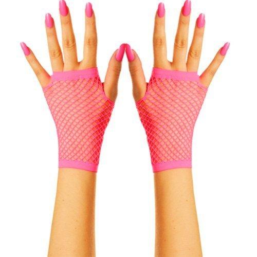 Fingerlose Netz Handschuhe für Erwachsene 1980er Rave Kostüm Neon Accessoire - Eine Größe, Neon Rosa
