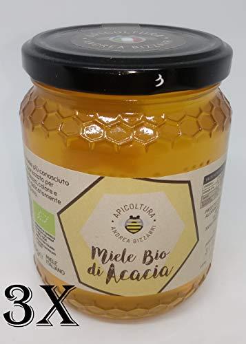 3 x 500g Miele BIO di acacia. Prodotto e confezionato all'origine in Italia - Toscana - Firenze