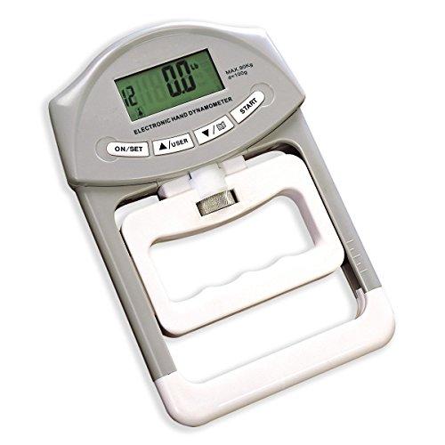 SUAVER Digitaler Hand-Kraftmesser / Dynamometer, 90 kg / 200 lbs, Handtrainer, Grau