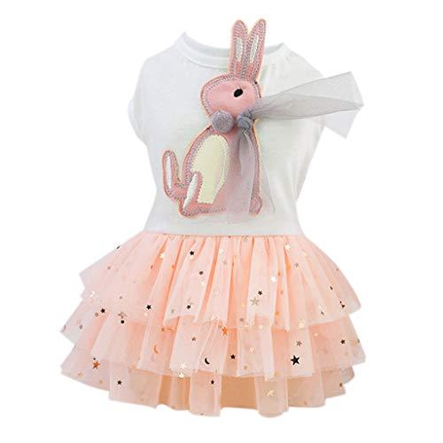 perfk Kaninchen Muster Hundekleid Prinzessin Kleid Rock Kleidung Kostüm für kleine Hunde - Weiß, S (Weißes Kaninchen Kostüm Muster)
