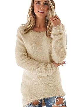 SHOBDW Mujer Suéter para Mujer Cuello Redondo Cárdigan Ocasional Sólido Suelto Otoño Invierno Tops de Manga Larga...