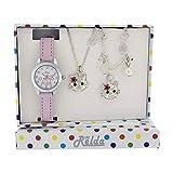 Relda Kinder Kätzchen Schmuck & Uhr, Halsekette, Armband Set für Mädchen