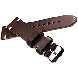 22mm Rio S1931Handmade Leather Band White Stitching 22/20Mm Handmade Retro Look Quality Strap Dark Brown BS Top Quality