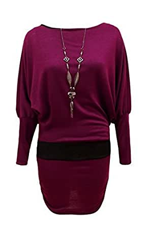 CANDY FLOSS LADIES BATWING JUMPER DRESS TOP WITH NECKLACE SIZE PLUM SM