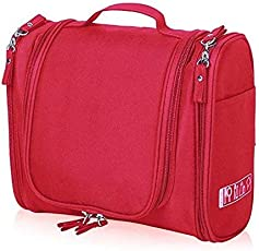 Egab Travel Toiletry Bag Waterproof Toiletry Kit Potable Dopp Kit Large Capacity Cosmetice Bags for Packing Make up (Red)