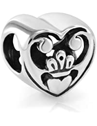 925 Sterling Silver Natural Abalone Shell Inlay Claddagh Heart Love Symbol Bead Charm Fits Pandora Bracelet