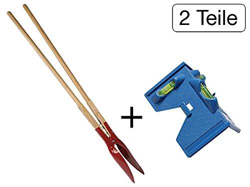 MISO Tools 2 tlg Set Zaunpfosten-Lochspaten 1560 mm + Pfostewasserwaage Winkelwasserwaage 135 mm