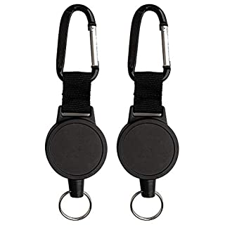 kuou 2 Pcs Retractable Key Chain, Heavy-duty Reel Recoil Pull Badge Reel with 27 Inches Steel Wire Rope (Black)