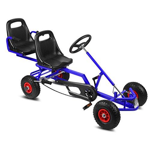 Tretfahrzeug ,OUTAD Stabiles 2 sitzen Go-Kart Rennkart Gokart Kinderfahrzeug mit Handbremse 4 Räder Luftbereifung Pendelachse Verstellbare Sitzpositionen 10cm Für Kinder ab 6 jahre (170*58*78cm) (Blau)