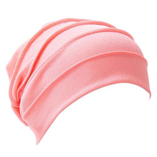 Krebs, Und Mützen Schals (Mützen Transer® Damen Krebs Chemo Hygiene Alopezie Baumwolle Weiß Rot Blau Khaki Beige Make-up Hut Falten Stretch Schal Turban Mützen mit Anhänger (Wassermelonenrot))