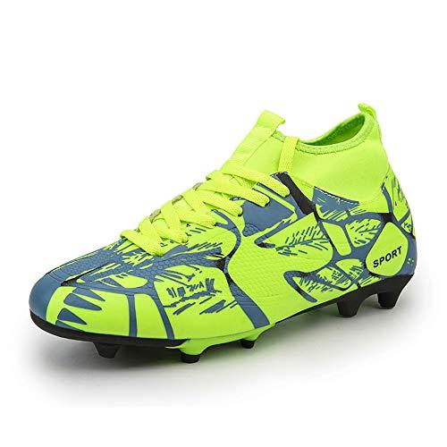 Scarpe da Calcio da Uomo Sneakers Scarpe da Calcio Indoor Scarpe da Calcio Alte alla Caviglia Tacchetti 5 Verde